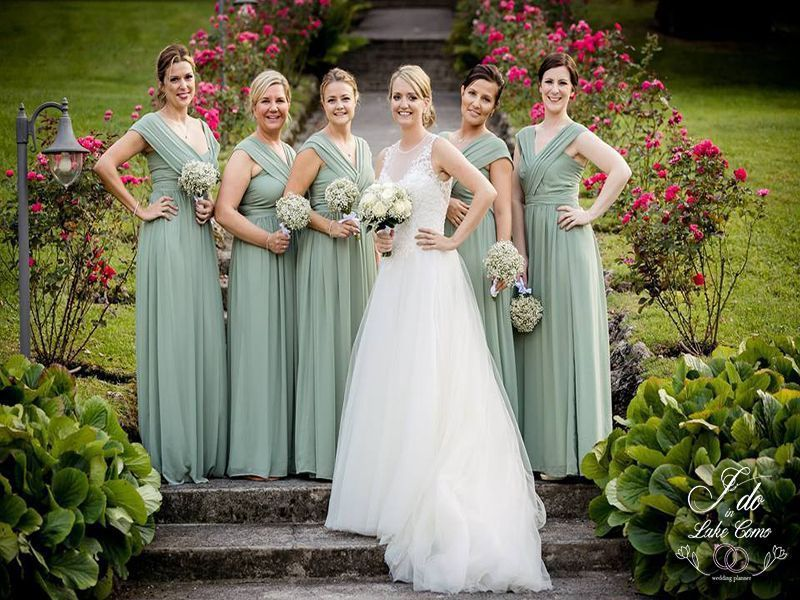 Bridesmaids in Lake Como at Villa Aura Italy