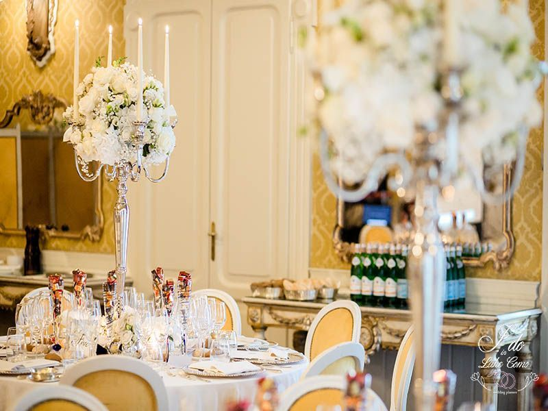 Candelabras at Grand Hotel Tremezzo Weddings | Lake Como Wedding Planner