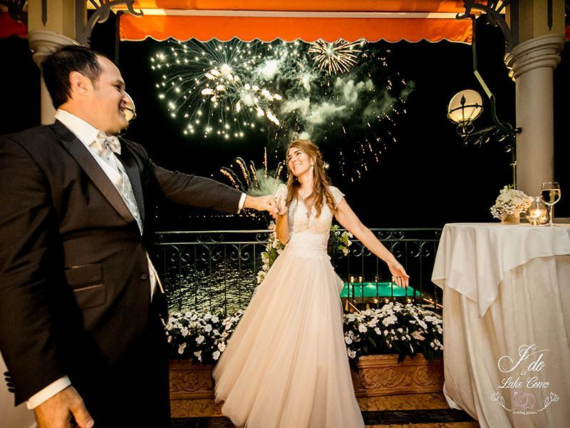 Fireworks at Grand Hotel Tremezzo Lake Como | Lake Como Wedding Planner