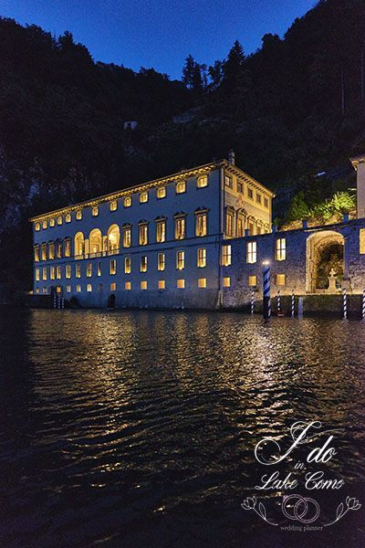 Villa Pliniana at night on Lake Como